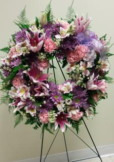 lavender and purple fresh wreath