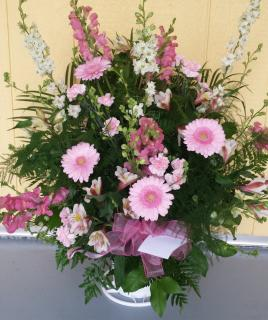 A Pink and White Basket