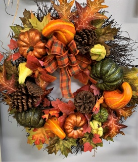 Fall Wreath with Gourds