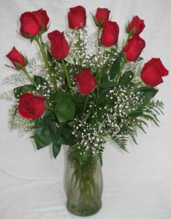 one Dozen Red Roses Vased