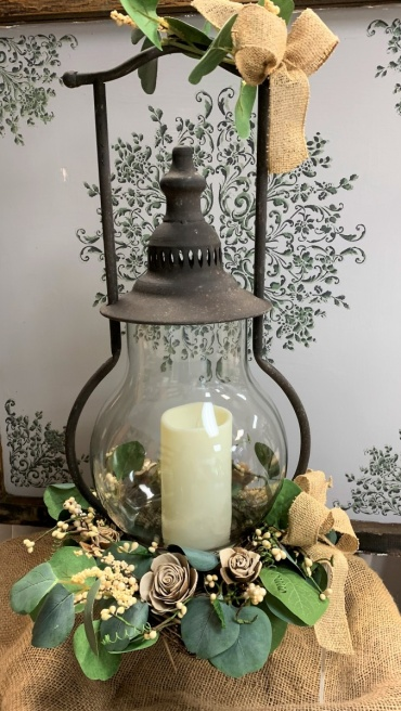 Rustic Lantern with Solo Flowers