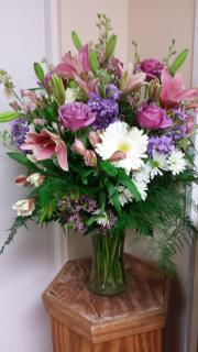 Bouquet of roses, stock, lilies, and alstromeria