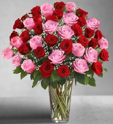 "Ultimate Eleganceâ""¢ Long Stem Pink & Red Roses"