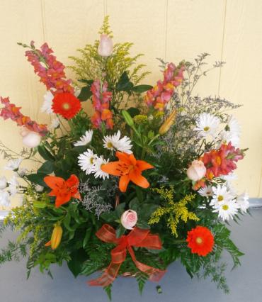 orange and white wicker arrangement