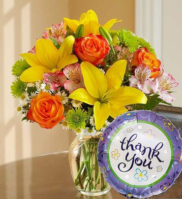 "Fields of Europeâ""¢ Thank You- Vase with TY Mylar Balloon"