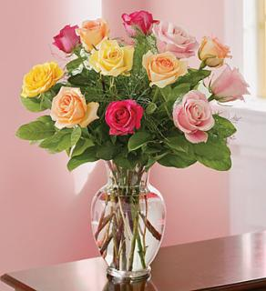 One Dozen Colored Roses Vased