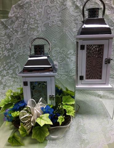 Wooden Cut out design Lantern with candle