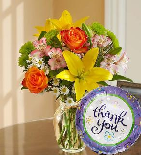 Fields of Europe™ Thank You- Vase with TY Mylar Balloon