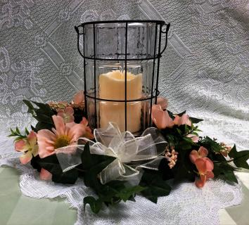 Lantern with silk wreath