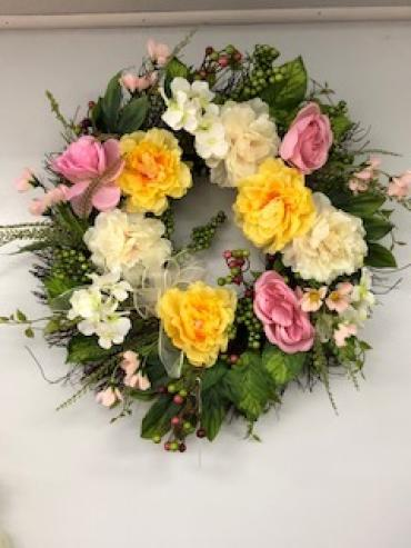 Pink and Yellow Silk Wreath