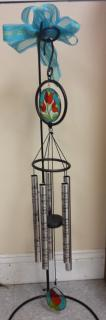 Stained glass chime with stand